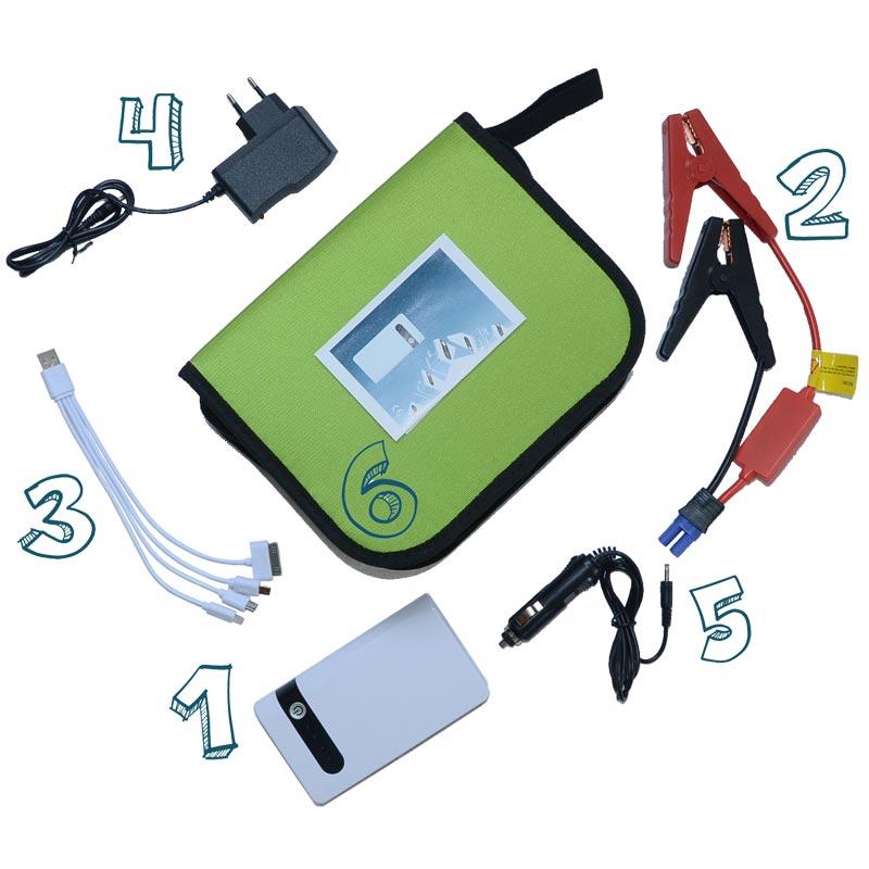 Описание комплектации портативного пускового устройства для авто