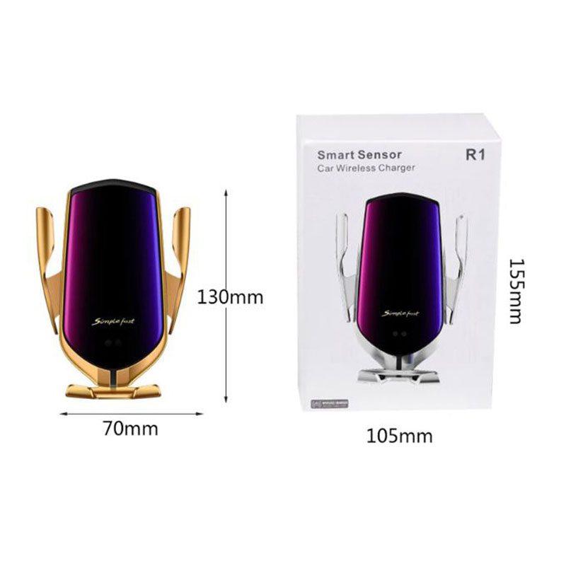 Фото упаковки и размеры автомобильного держателя для смартфонов Smart Sensor R1