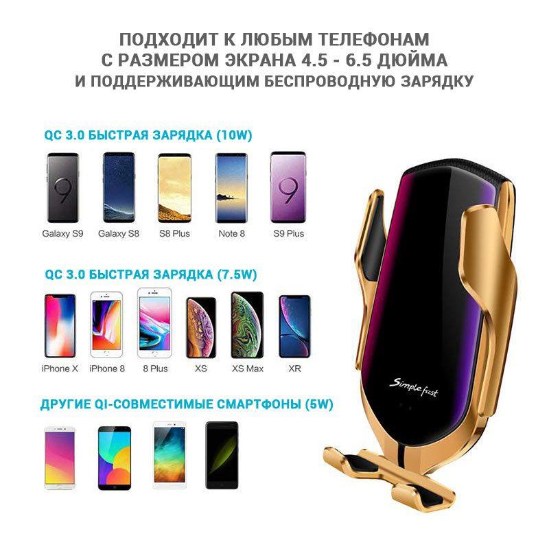 Фото какие модели телефонов совместимы с автомобильным держателем Smart Sensor R1