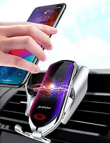 Фото Беспроводная зарядка держатель в автомобиль с умными сенсорами