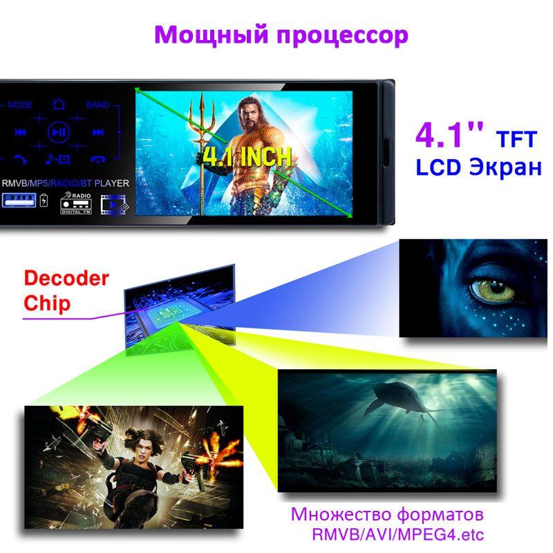 Автомагнитола с сенсорным экраном 4,1 дюйма и производительным чипсетом