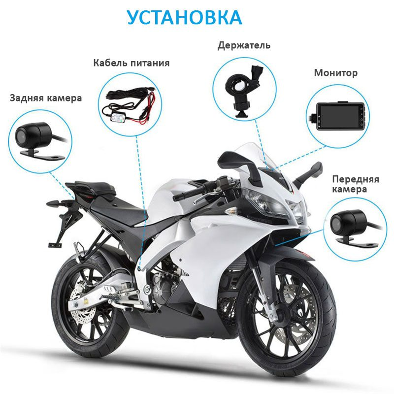 Схема установки видеорегистратора на мотоцикл